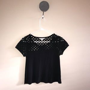 black T w cut outs on top